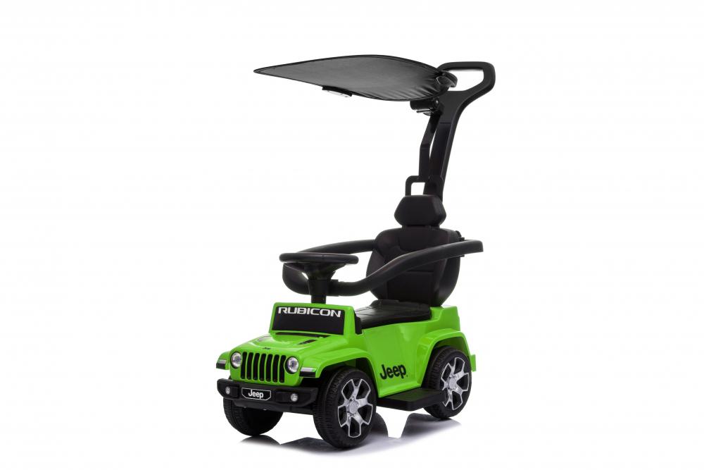 Masinuta electrica cu maner parental si roti EVA Jeep Wrangler Green