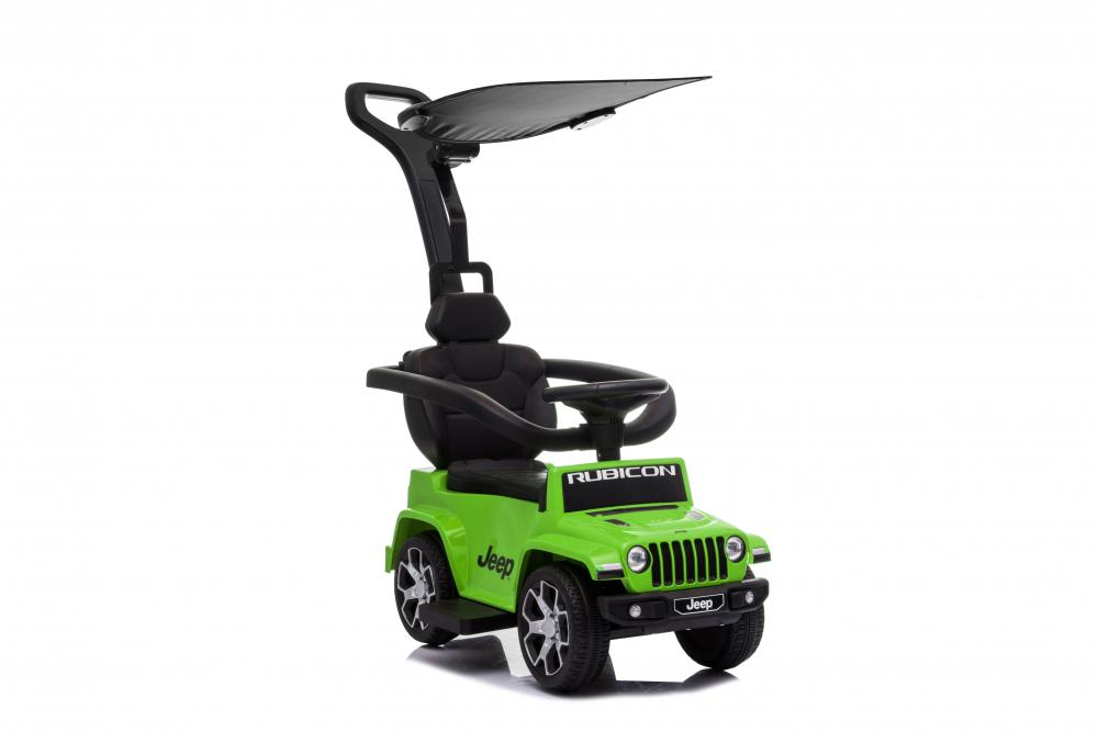 Masinuta electrica cu maner parental si roti EVA Jeep Wrangler Green - 1