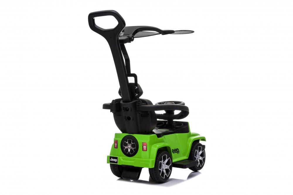 Masinuta electrica cu maner parental si roti EVA Jeep Wrangler Green - 2