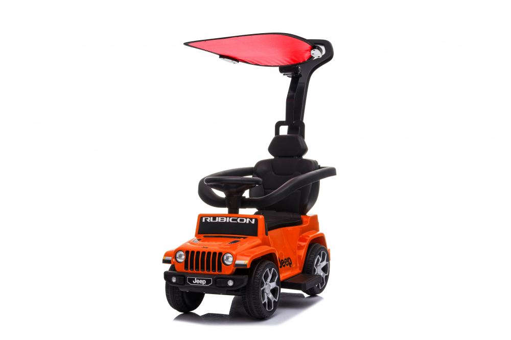 Masinuta electrica cu maner parental si roti EVA Jeep Wrangler Orange