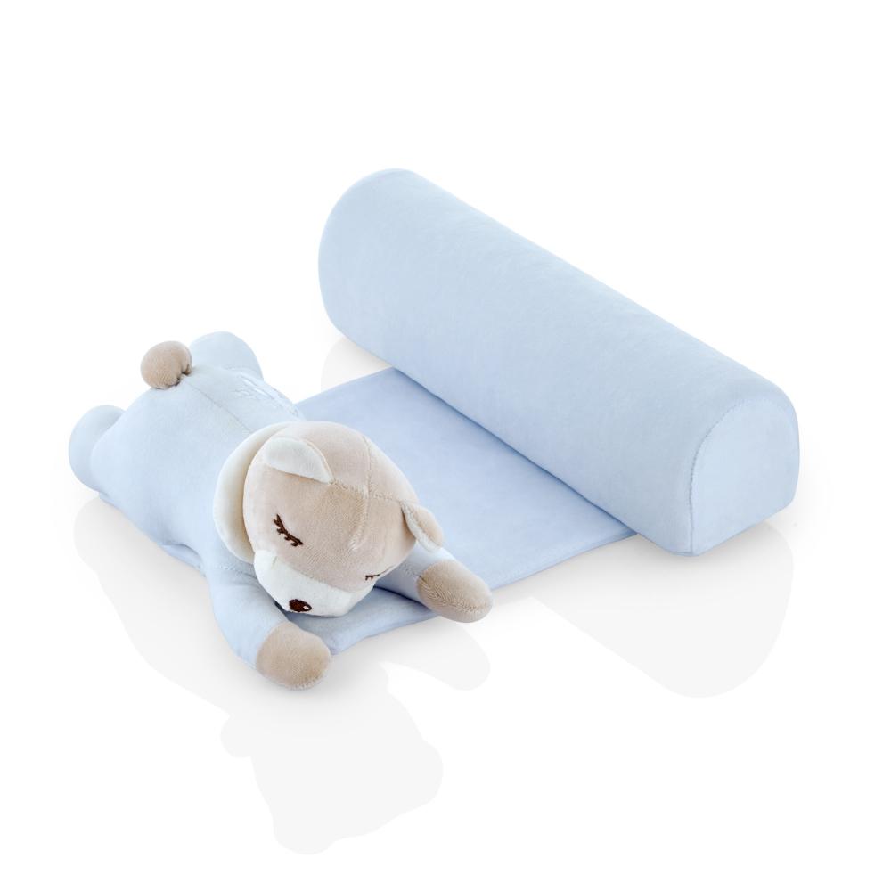 Pernuta pozitionator BabyJem anti-rasucire pentru bebelusi Teddy Blue 35x31 cm