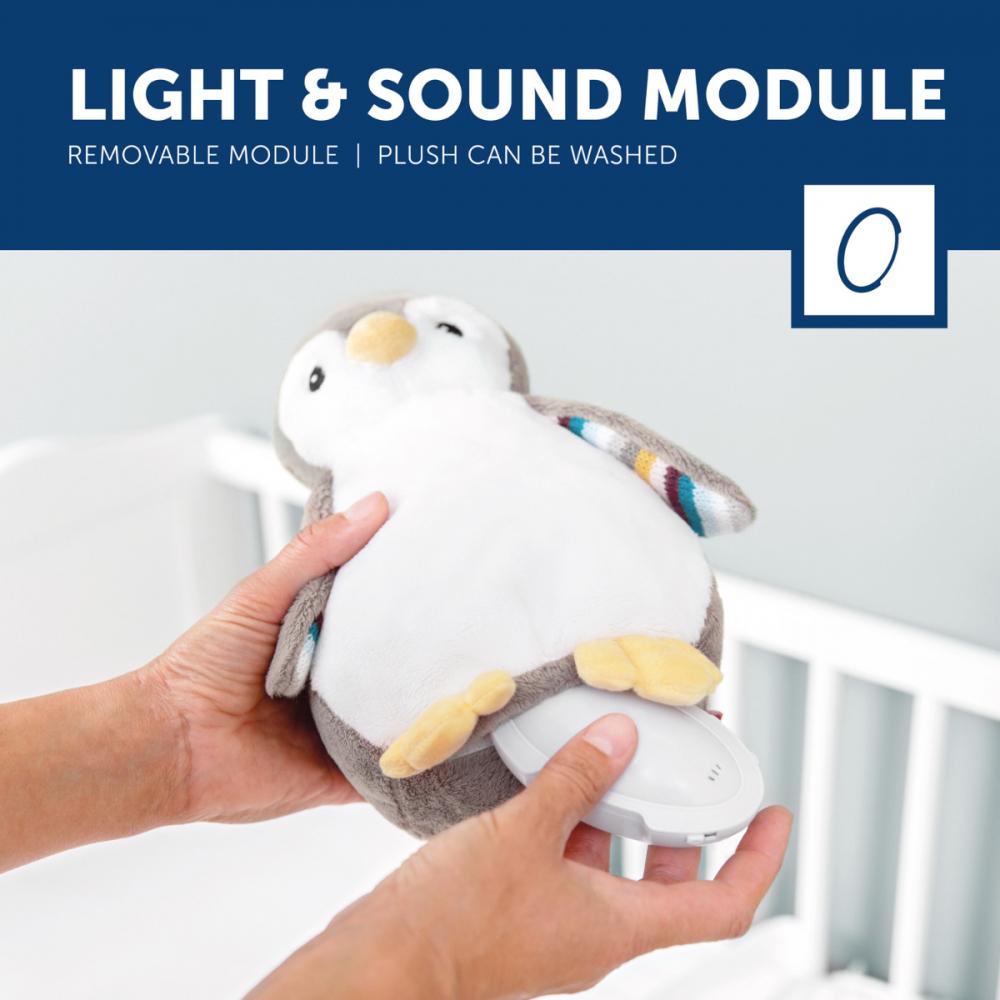 Plus cu mecanism de linistire si relaxarea bebelusului Pinguinul Phoebe