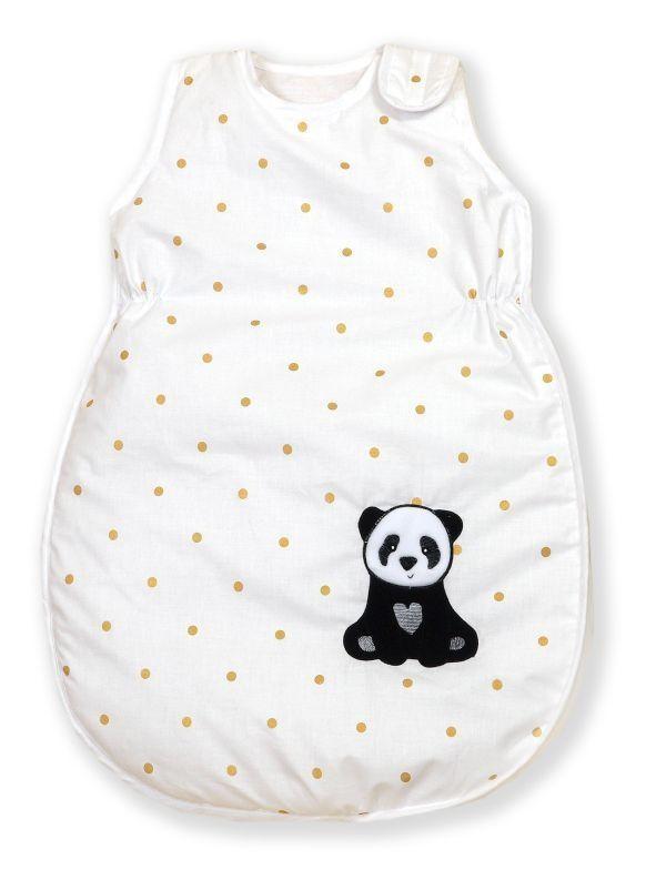 Sac de dormit din bumbac cu broderie pentru bebelusi Golden Dot Panda 80 cm