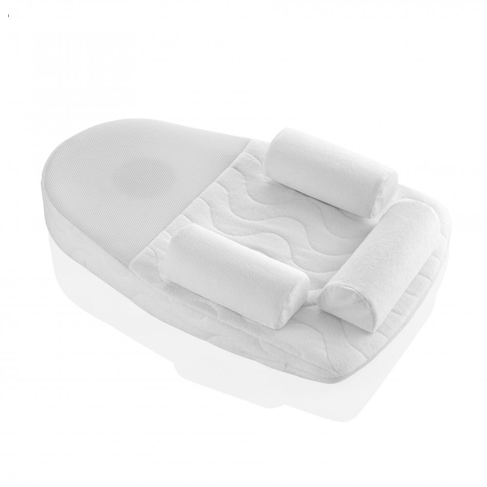 Salteluta plan inclinat si saculet cu samburi de cirese BabyJem 70x43 cm Velvet White
