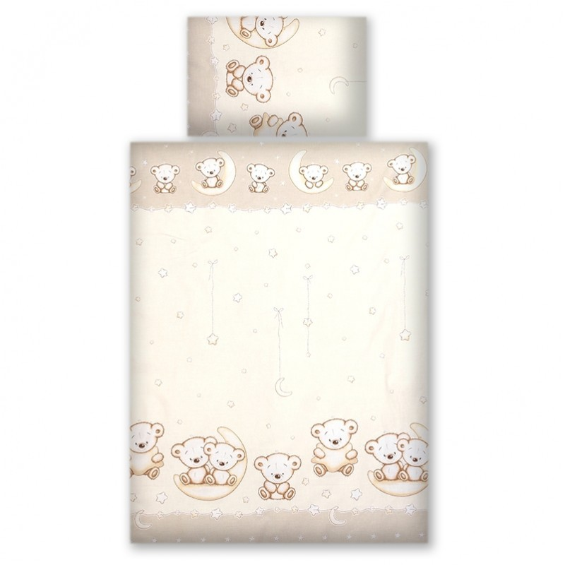 Set lenjerie din bumbac cu protectie laterala, pentru pat bebelusi 120x60 cm Teddy Bear Cream