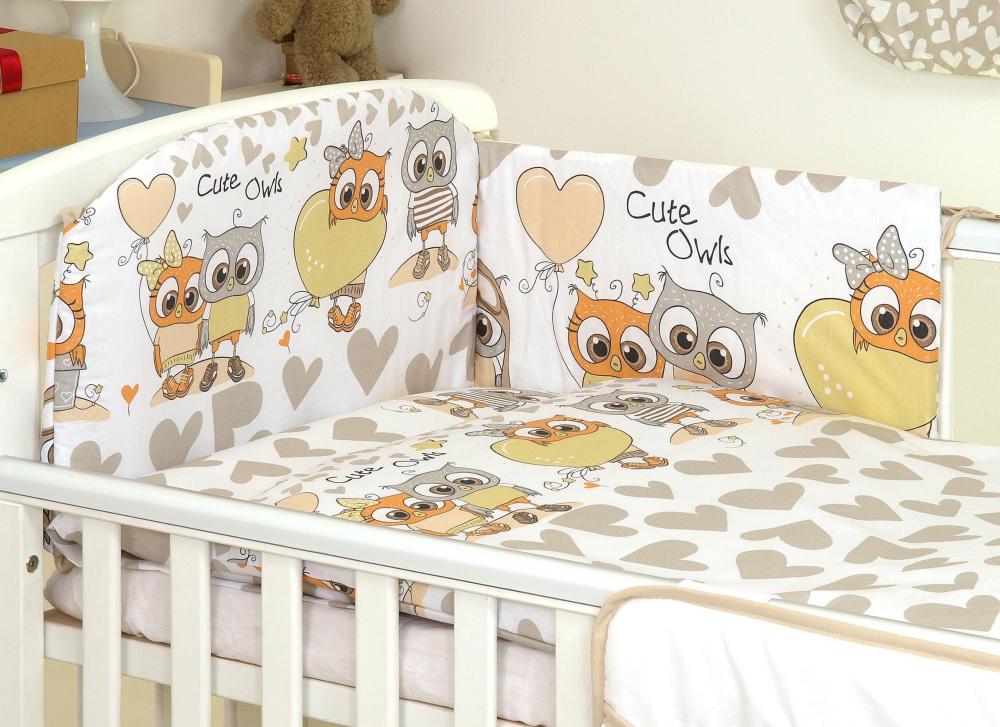 Set lenjerie din bumbac cu protectie laterala pentru pat bebelusi 120x60cm Bufnita Bej
