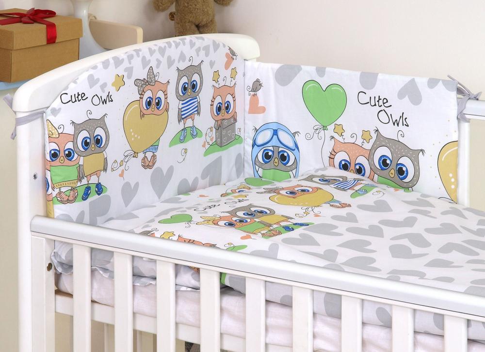 Set lenjerie din bumbac cu protectie laterala pentru pat bebelusi 120x60cm Bufnita Gri