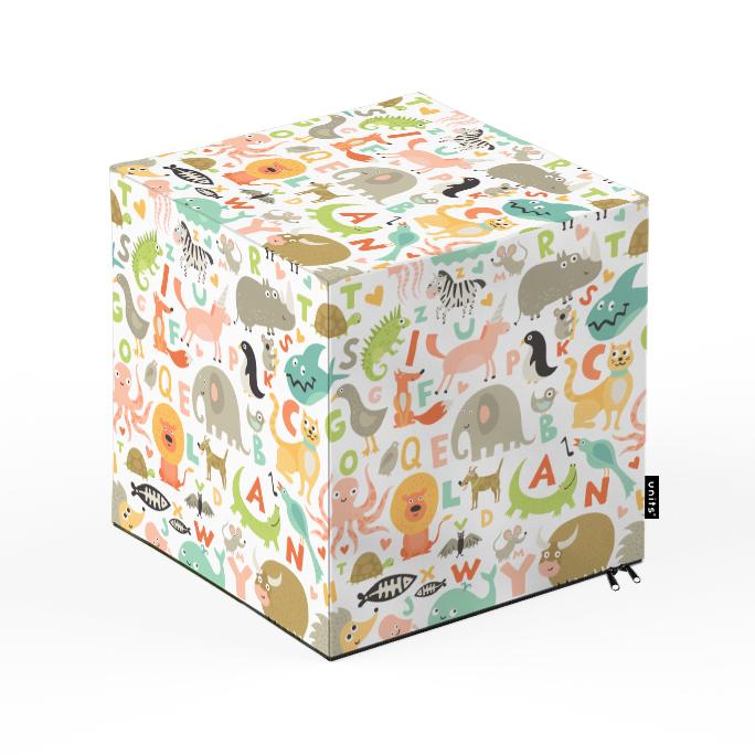 Taburet Units cub Alfabet 30 x 30 x 30 cm