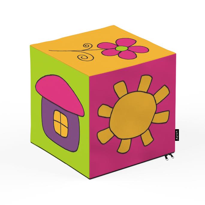 Taburet Units cub Flori 30 x 30 x 30 cm