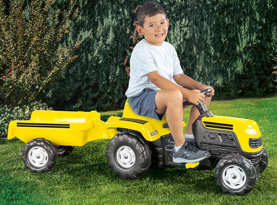 Tractor cu remorca Galben