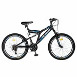 Bicicleta munte dubla suspensie Rich R2449A roata 24 frana V-Brake 18 viteze negru/albastru