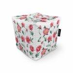 Fotoliu Units Puf Bean Bags tip cub impermeabil alb cu flori rosii