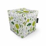 Fotoliu Units Puf Bean Bags tip cub impermeabil alb cu legume verzi