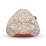 Fotoliu Units Puf Bean Bags tip para impermeabil cu maner alb cu flori multicolore