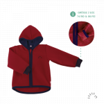 Jacheta din lana merinos organica tumble/boiled wool Iobio Ruby 74/80