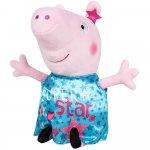 Jucarie din plus Peppa Pig cu rochie turcoaz din satin 17 cm