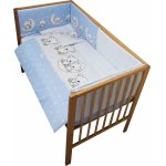 Lenjerie patut 120x60 cm cu 5 piese Nichiduta Teddy on the Moon Blue