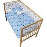 Lenjerie patut cu 2 fete si 4 piese 120x60 cm Nichiduta Blue Stars