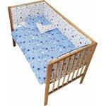 Lenjerie patut cu 2 fete si 5 piese 120x60 cm Nichiduta Blue Stars