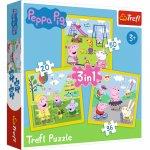 Puzzle Trefl 3 in 1 Peppa Pig O Zi Aniversara