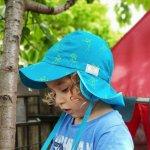 Palarie din bumbac organic cu protectie pentru urechi si snur Pickapooh Tom Blue 46