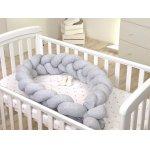 Protectie laterala patut bebe bumper impletit inchidere velcro bumbac jersey grey 210 cm