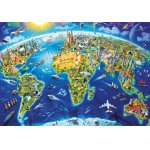Puzzle Educa World Landmarks Globe Adrian Chesterman 2000 piese include lipici puzzle
