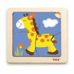 Puzzle din lemn din 4 piese mari girafa