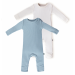 Set 2 salopete BabyCosy Modal 6-9 luni Green/Ecru