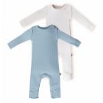 Set 2 salopete BabyCosy Modal 9-12 luni Green/Ecru