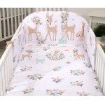 Set lenjerie din bumbac cu protectie laterala pentru pat bebelusi 120 x 60 cm Caprioara