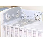 Set lenjerie din bumbac cu protectie laterala pentru pat bebelusi 120x60 cm Teddy Bear Grey