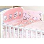 Set lenjerie din bumbac cu protectie laterala pentru pat bebelusi 120x60 cm Teddy Bear Pink