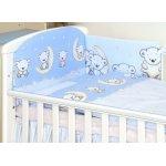 Set lenjerie din bumbac cu protectie laterala pentru pat bebelusi 120x60cm Teddy Bear Blue