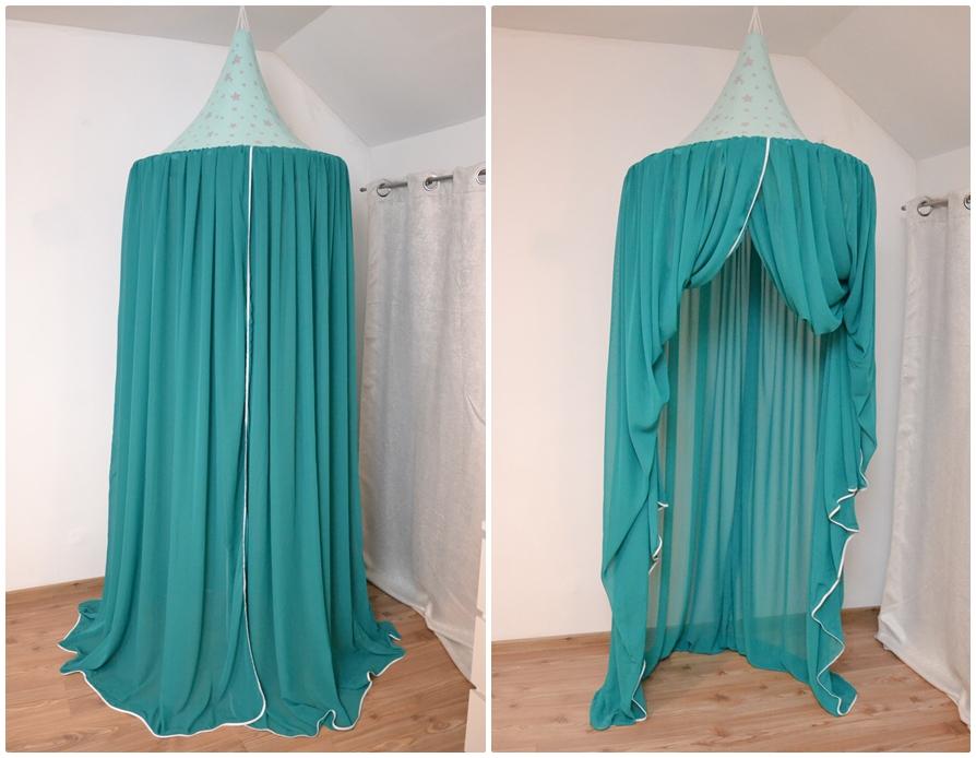 Baldachin de tavan din voal diametru 75 cm turcoaz