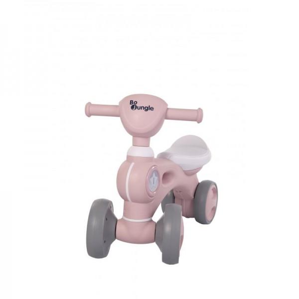 Bicicleta cu 4 roti roz Bo Jungle pentru copii cu lumini si sunete