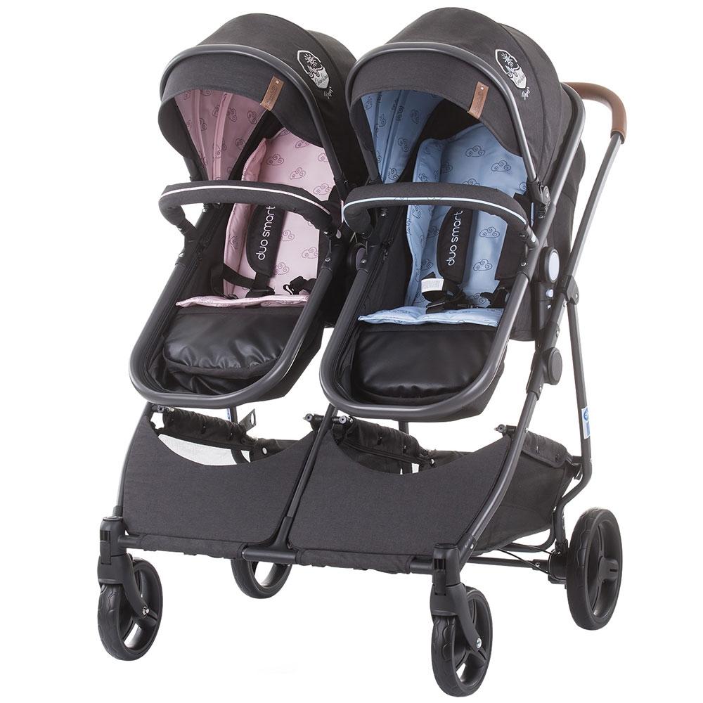 CHIPOLINO Carucior gemeni Chipolino Duo Smart 2 in 1 blue pink