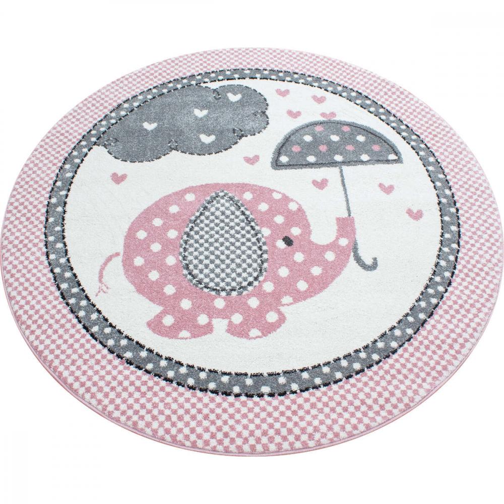 Covor copii tineret Eugene rotund roz 120x120