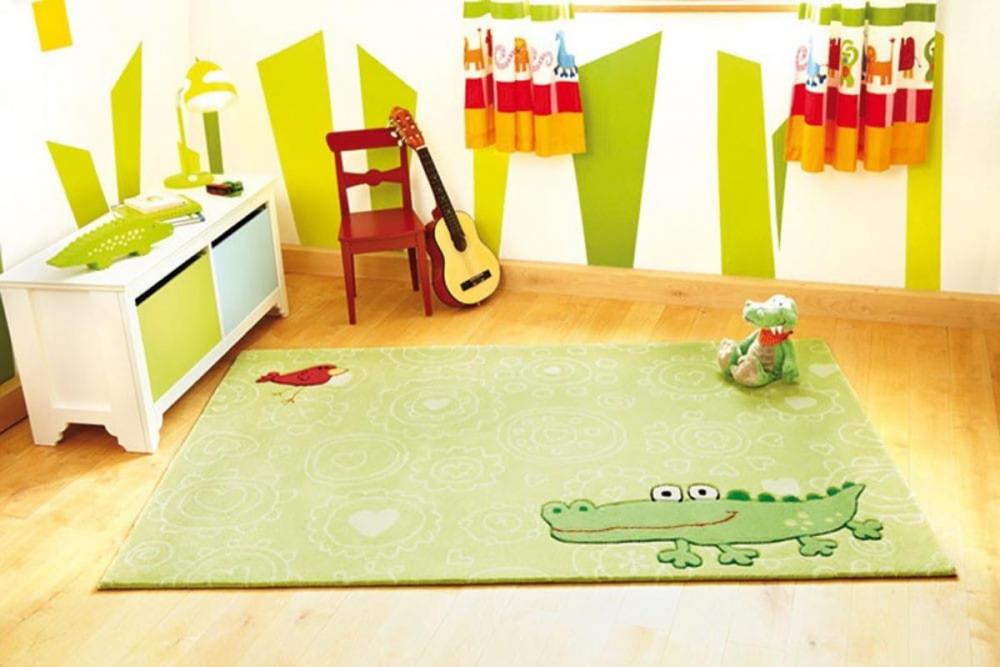 Covor copii tineret Hayppy Zoo Crocodile acril verd, 120x180