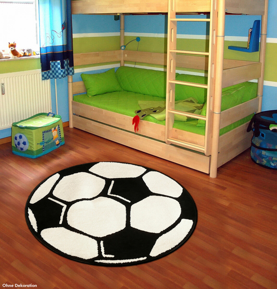 Covor copii tineret PP Fussball rotund alb 100x100