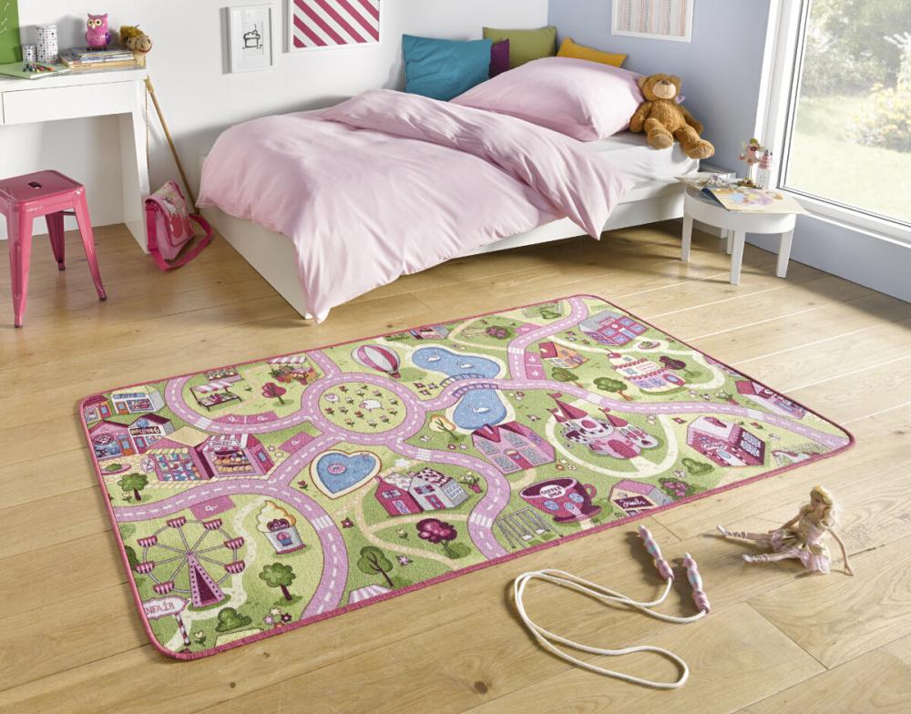 Covor copii tineret Play roz 200x300