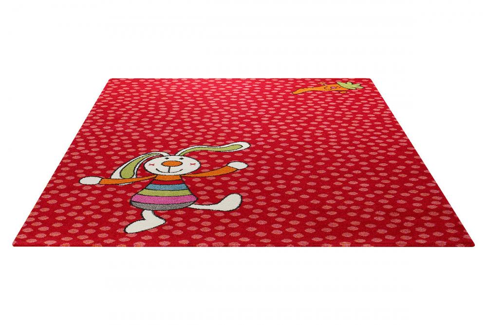 Covor copii tineret Rainbow Rabbit rosu 80x150