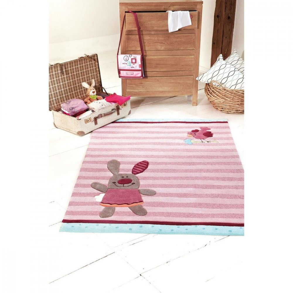 Covor Patchwork 3 Happy Friends Stripes acril roz 140x200