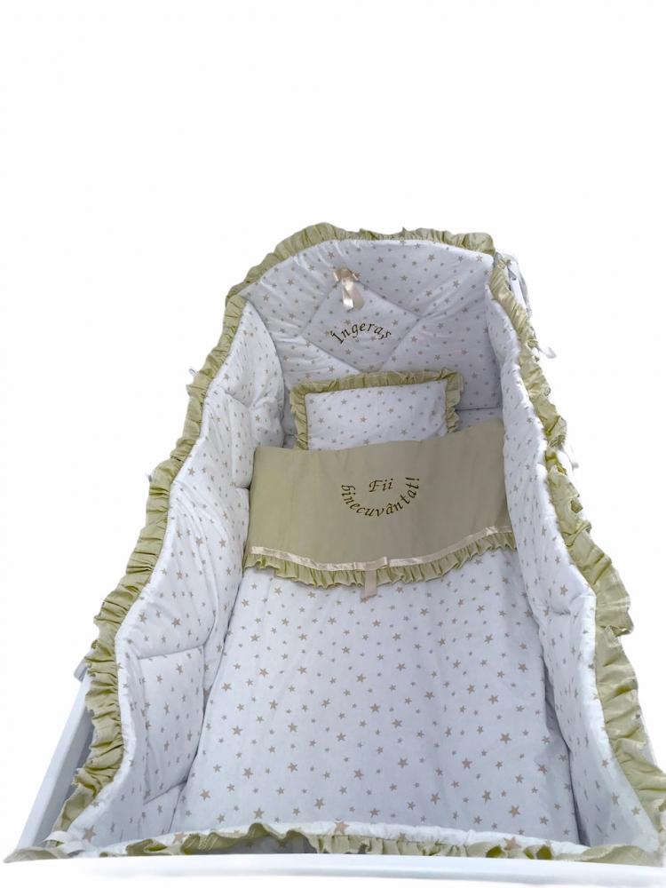 Lenjerie de pat bebelusi brodata Fii binecuvantat ingeras 140x70 cm stelute bej
