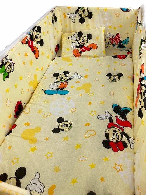 Lenjerie patut cu 5 piese Mickey Mouse 140x70 cm