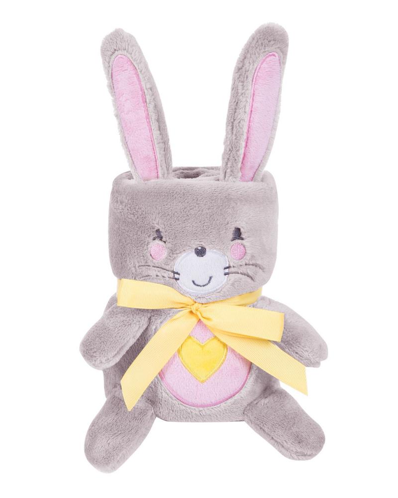 Paturica moale 75x100 cm KikkaBoo Baby blanket 3D Pink Bunny