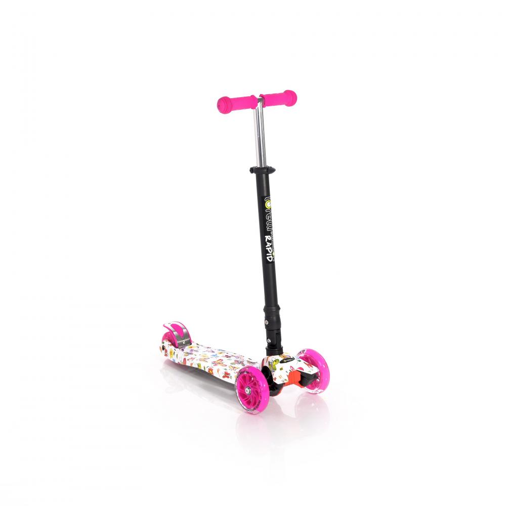 LORELLI Trotineta pentru copii 4 roti cu leduri Rapid Pink Butterfly
