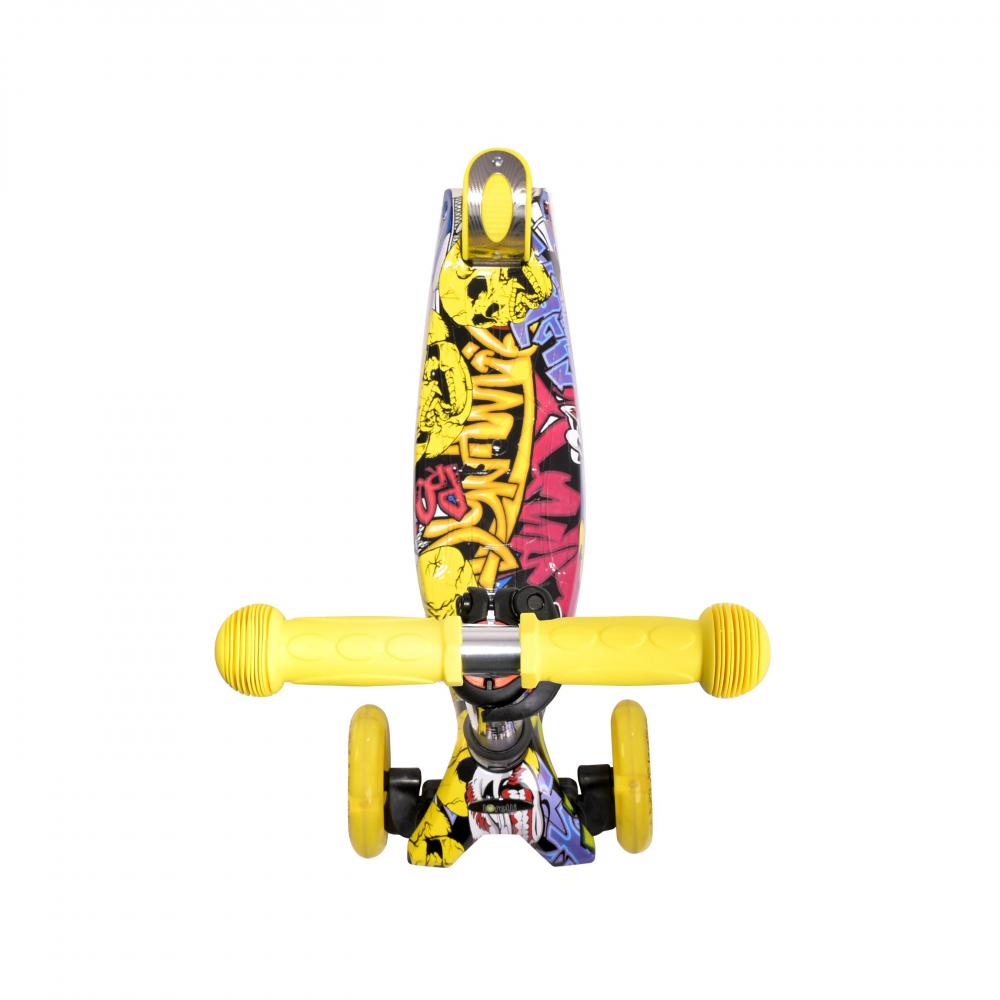 Trotineta pentru copii 4 roti cu leduri Rapid Yellow Graffiti