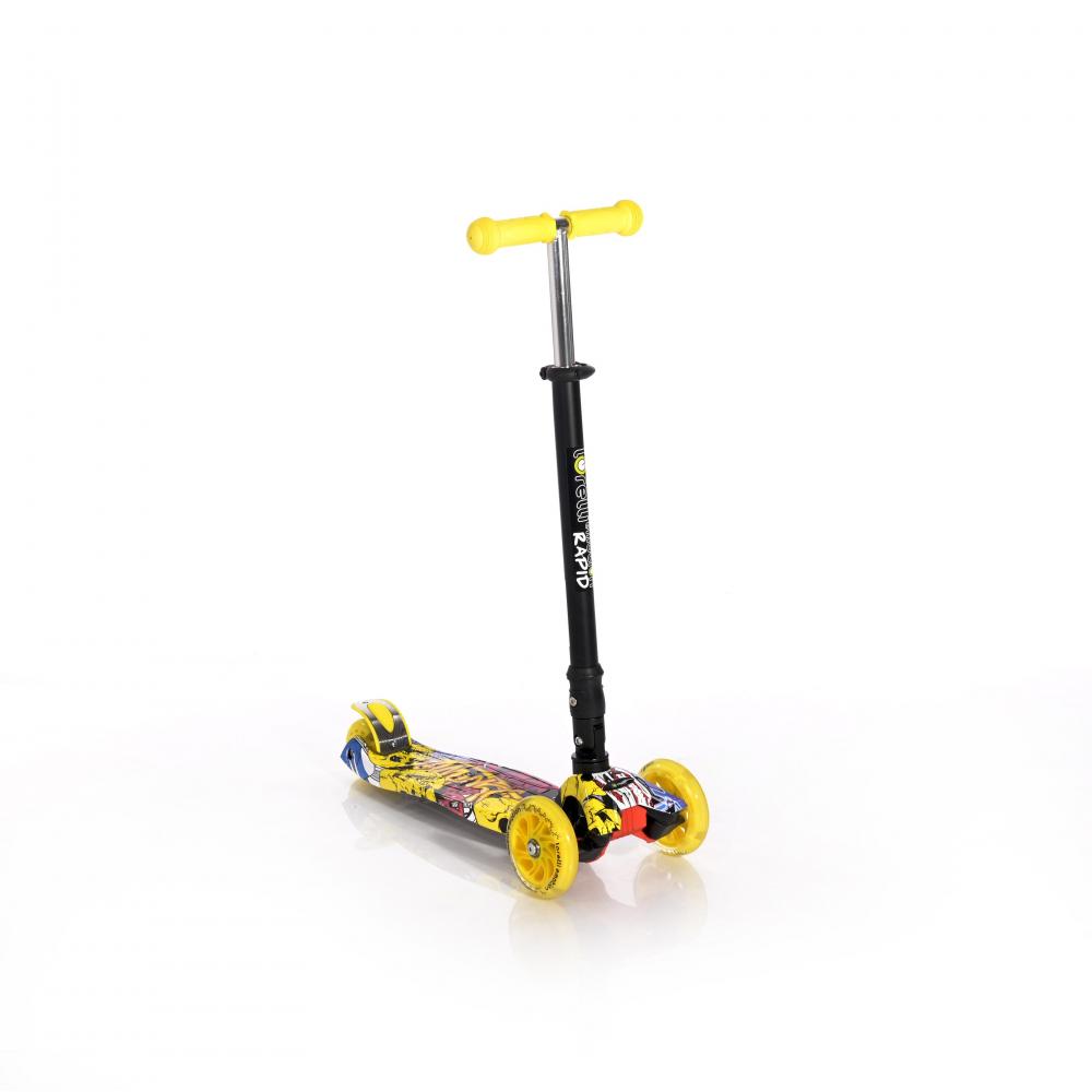 LORELLI Trotineta pentru copii 4 roti cu leduri Rapid Yellow Graffiti