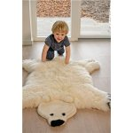 Blanita in forma de urs 80x130 cm alb